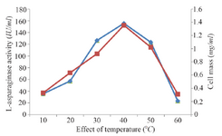 <p>Figure 2. Effect of temperature on growth and L-asparaginase production.</p>