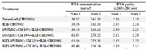 <p>Table 1. Concentration and purity of RNA</p>