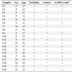 <p>Table 3. The results of all experiments (turbidity, culture, PCR and LAMP) for clinical specimens</p>